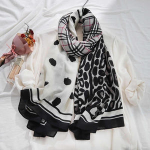 Jeanette Multi Print Monochrome Light Cotton Feel Scarf