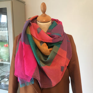 Woven Check Scarf Multi Bright