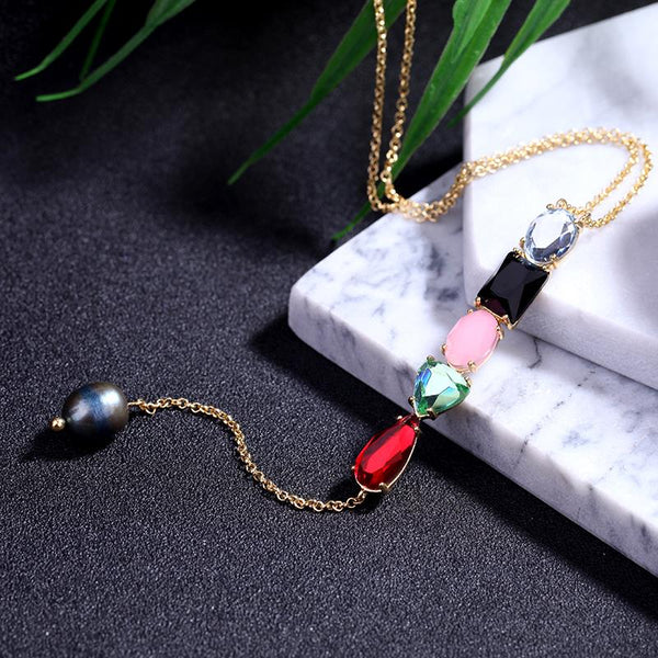 Veronica Multi Gem and Cultured Pearl Drop Necklace