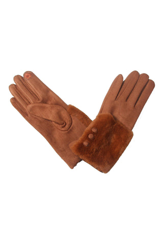 Myra Faux Fur Gloves Camel