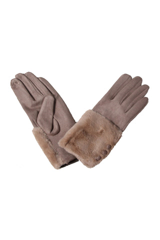 Myra Faux Fur Gloves Taupe