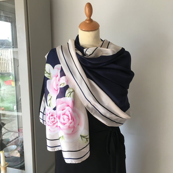 Navy and Cream Floral Print Silk Feel Scarf