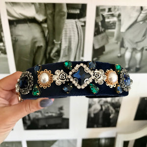 Navy Deluxe Embellished Crown