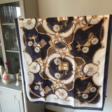 Navy Vintage Car Print Silk Feel Scarf