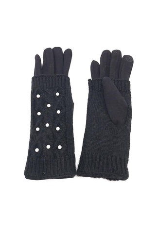 Nessa Pearl Cable Knit Gloves