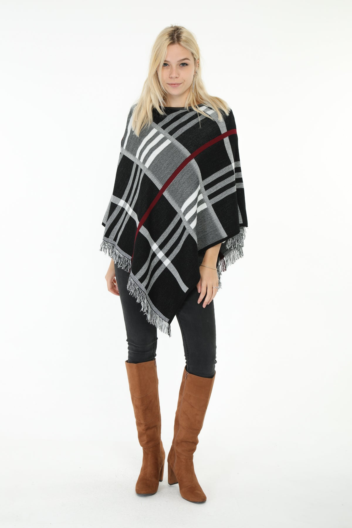 Niamh Check Poncho Black