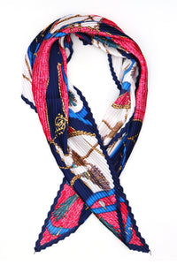 Niamh Pleated Small Square Scarf Blue Multi Print