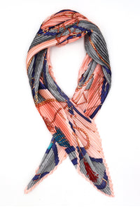 Niamh Pleated Small Square Scarf Grey Multi Print