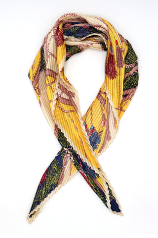 Niamh Pleated Small Square Scarf Yellow and Green Print