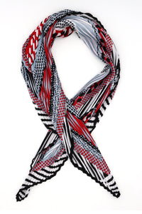 Niamh Pleated Small Square Scarf Red and Grey Print