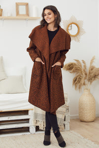 Nikki Waterfall Coat Rust