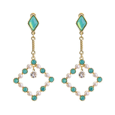 Odette Pearl Drop Square Clip-on Earring Mint