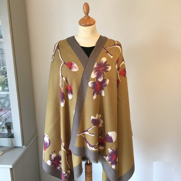 Olive Floral Print Light Cashmere Feel Scarf