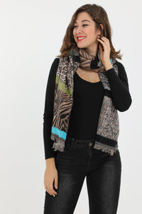Oonagh Mixed Animal Print Scarf Blue