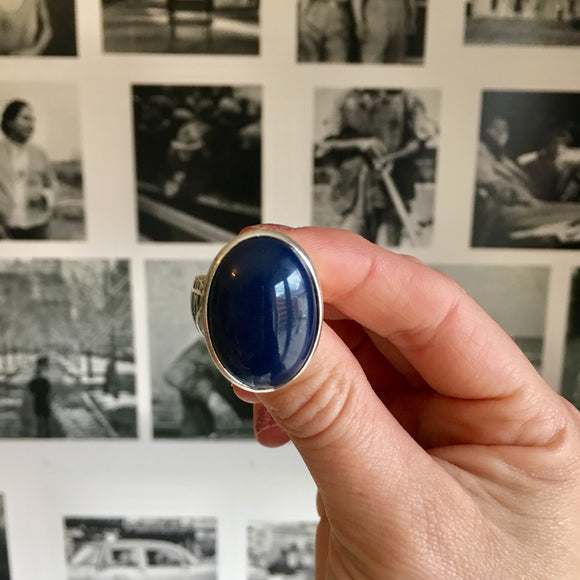 Oval Faced Navy Ring