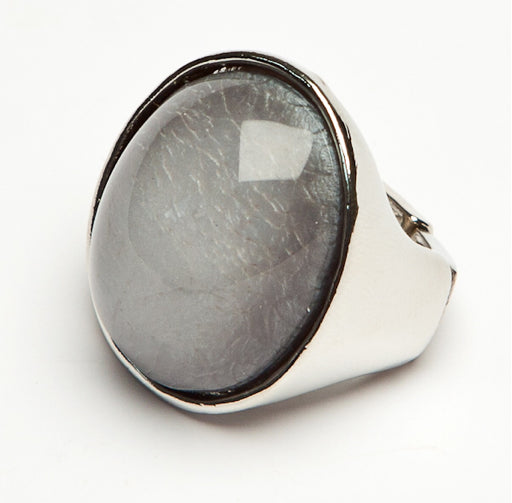 Grey Oval Textured Ring