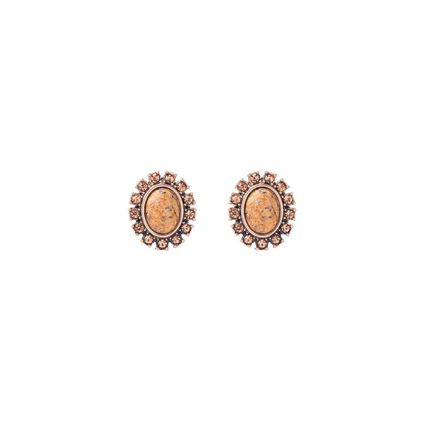 Oval Natural Stone Earring