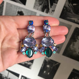 Crystal Gem Drop Earring with Lilac & Emerald Stones