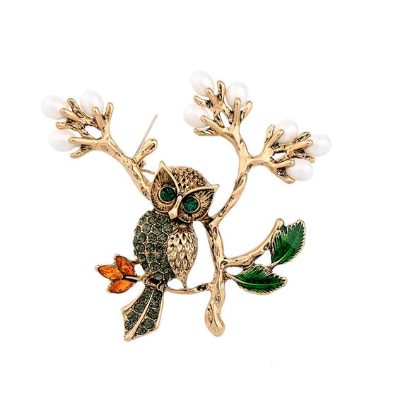 Aria Owl on Pearl Branch Brooch