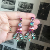 Coral, Pink and Mint Pastel Gem Earring