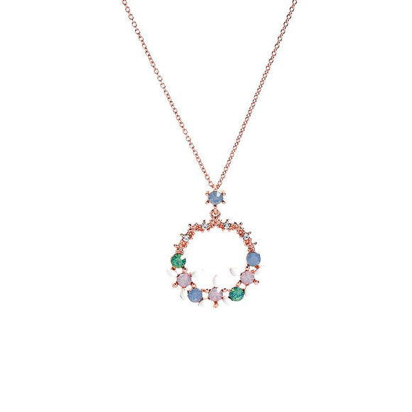 Jenny Pastel Gem Flower Circle Necklace