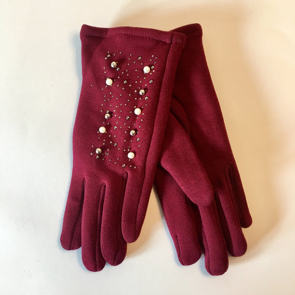Pearl and Stud Glove Burgundy