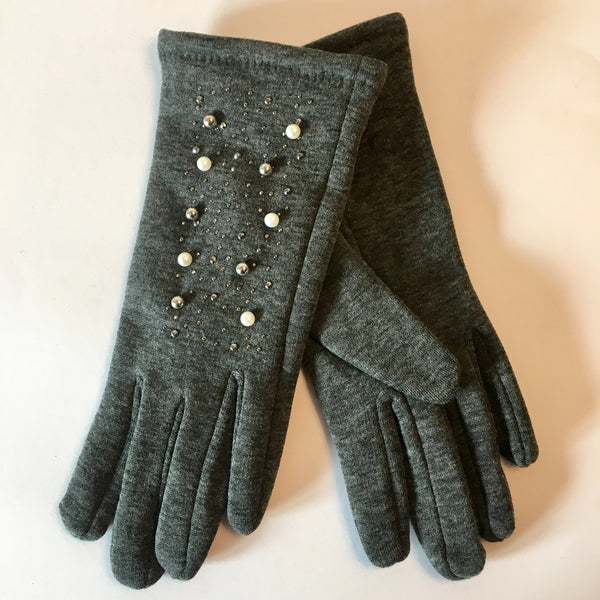 Pearl and Stud Glove Grey