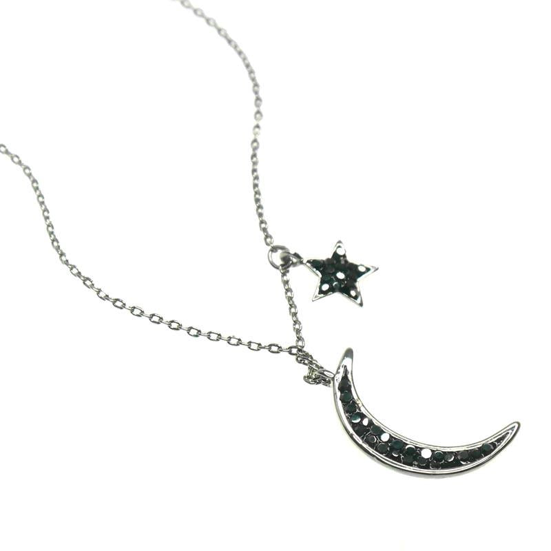 Dawn Pewter Crystal Moon and Star Necklace