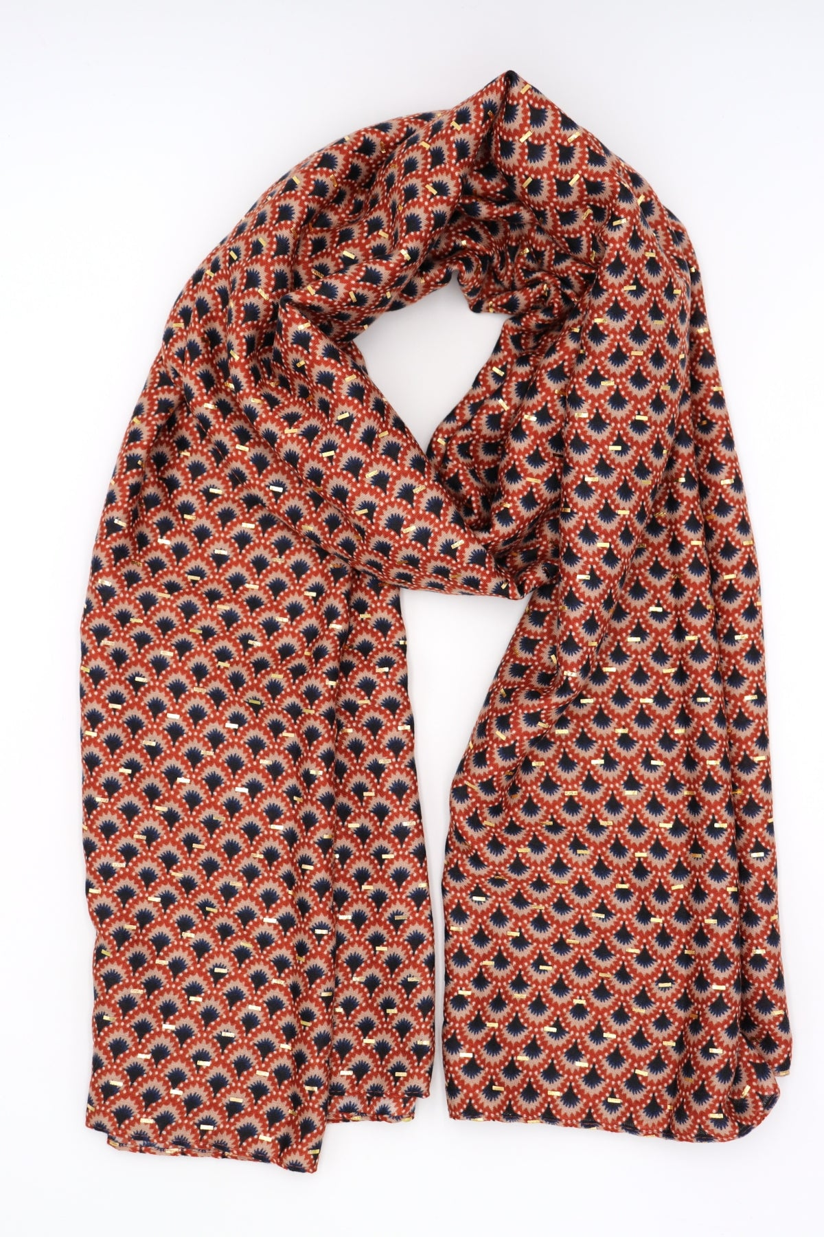 Phoebe Gold Detail Scarf Rust