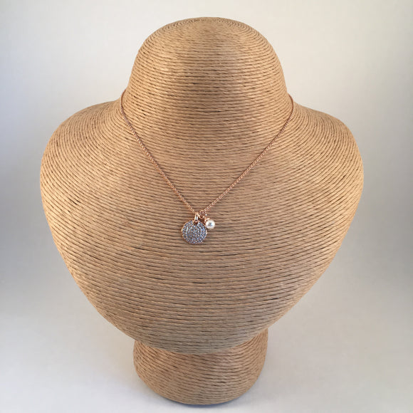 Disc Encrusted Pendant with Pearl Charm Rose Gold