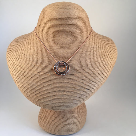 Double Circle Pendant Rose Gold