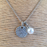 Disc Encrusted Pendant with Pearl Charm Silver