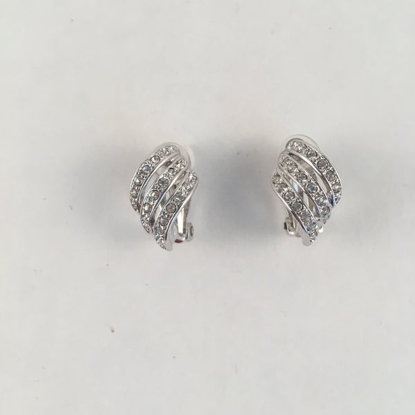 Curved Crystal Clip-On Earrings