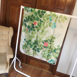 Green Leaf Print Silk Feel Scarf