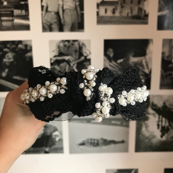 Black Pearl Detail Lace Turban Headband