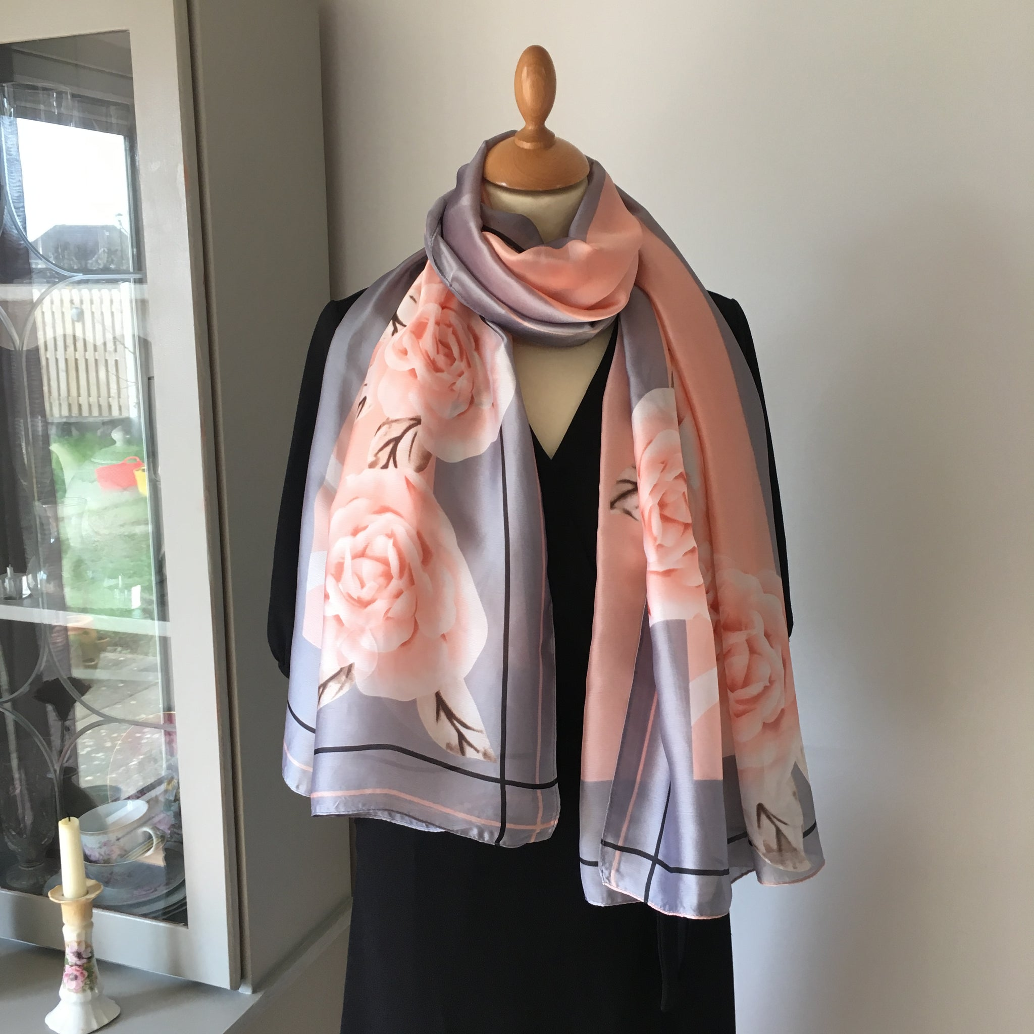 Grey and Pink Floral Silk Feel Scarf