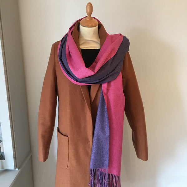 Pink Reversible Light Cashmere Feel Scarf