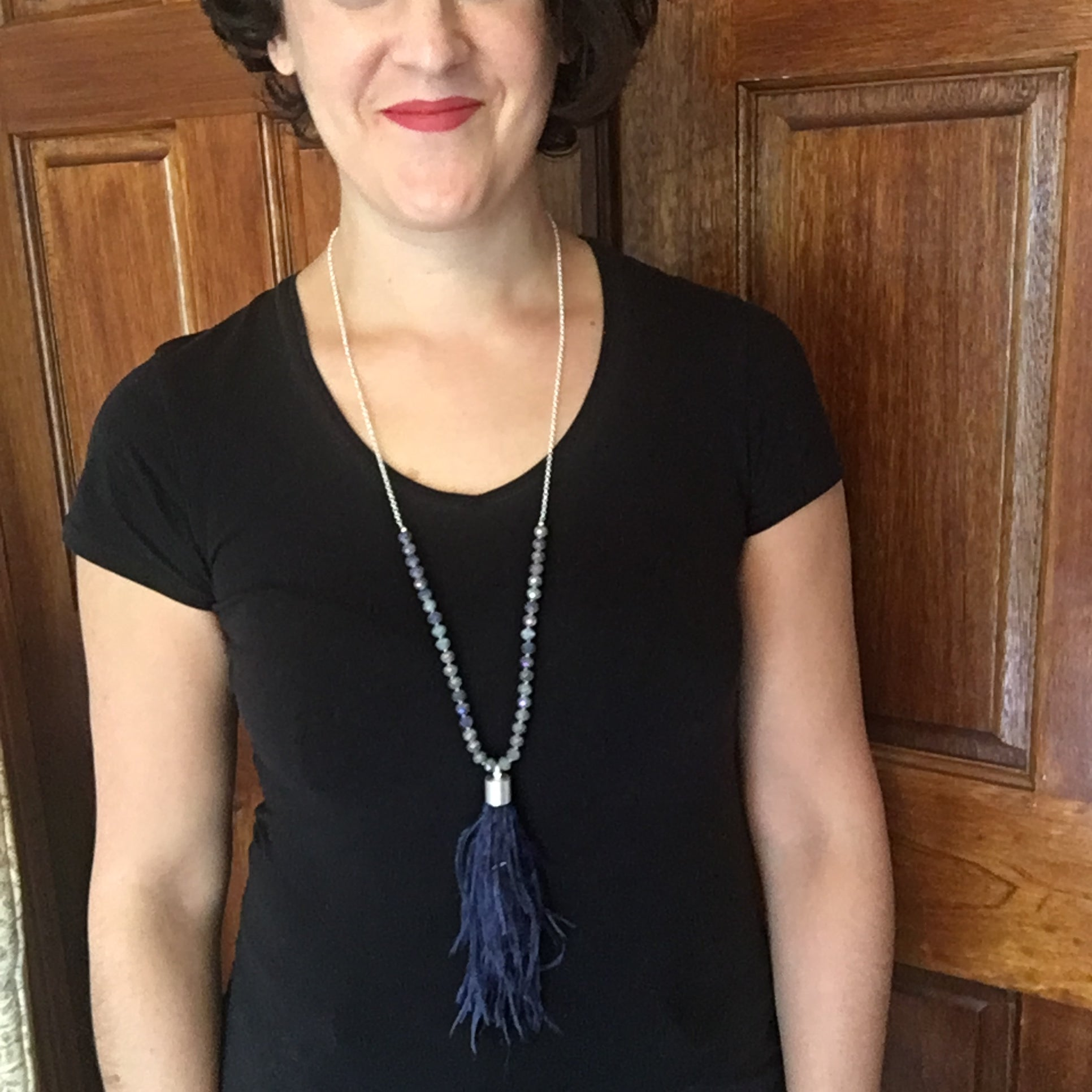 Navy Ostrich Feather Necklace