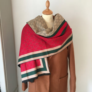 Reversible Red and Camel Cashmere Feel Scarf
