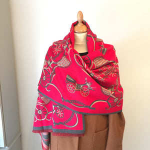 Red Vintage Car Print Cashmere Feel Scarf