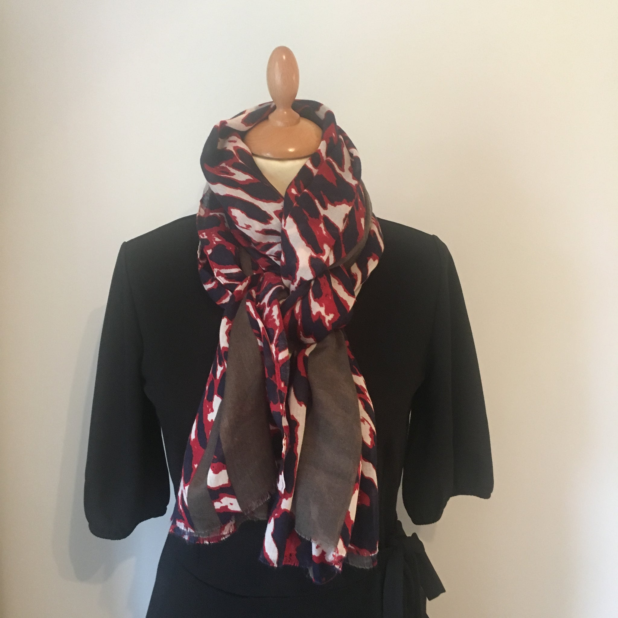 25d53253dbdb8 Red and Blue Leopard Print Scarf – Lainey Style