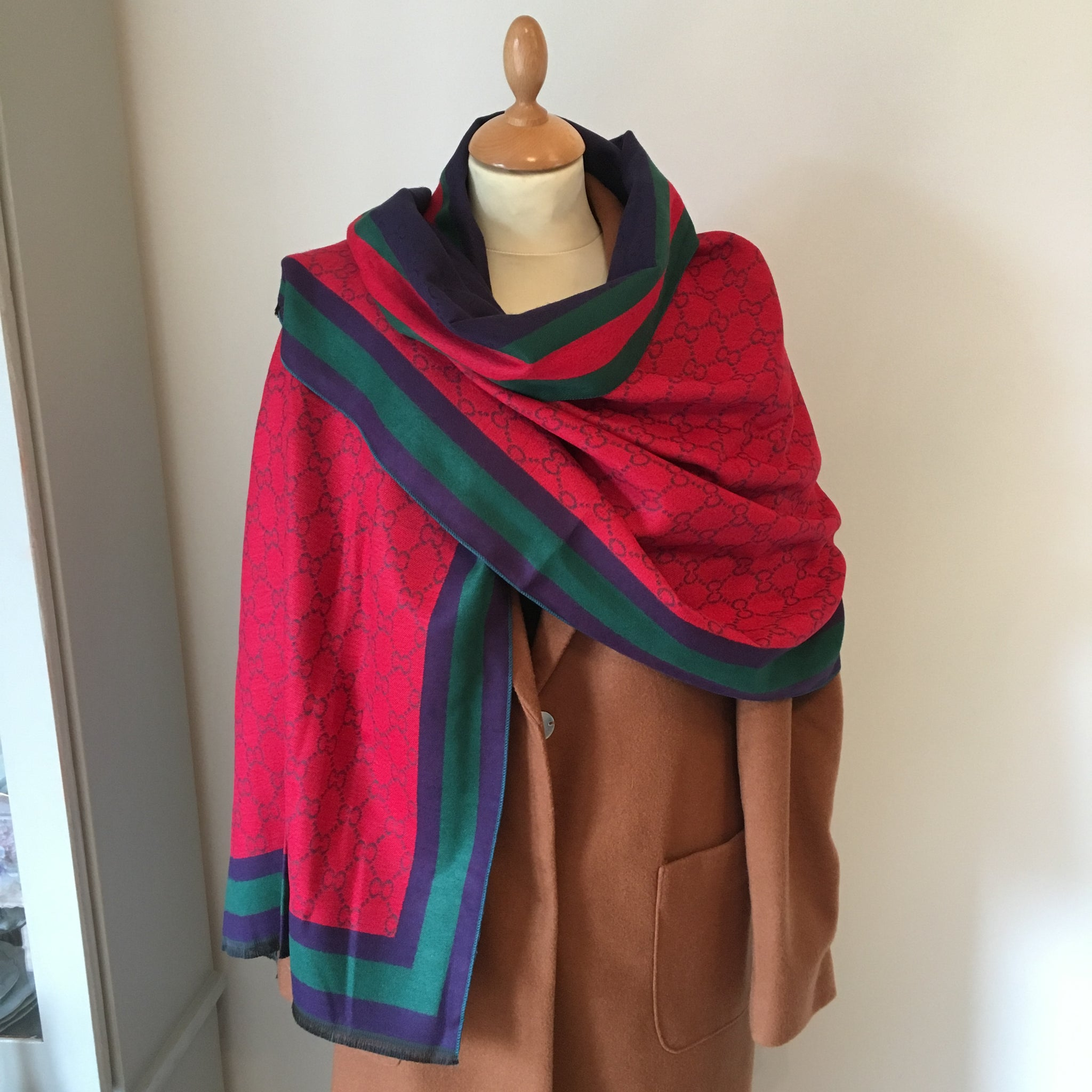 Reversible Red and Navy Cashmere Feel Scarf