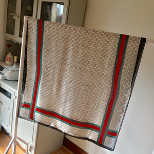 Green and Red Border Silk Feel Scarf