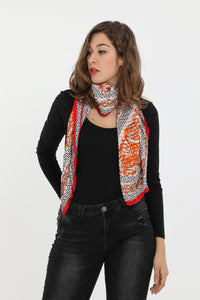 Reese Large Square Pleated Scarf Grey and Red