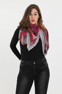 Reese Large Square Pleated Scarf Red
