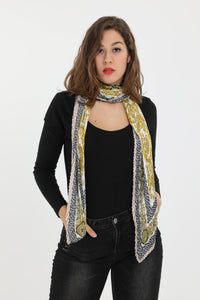 Reese Large Square Pleated Scarf White
