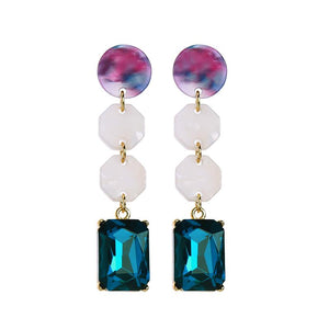 Resin Discs Earrings with Teal Gem Drop