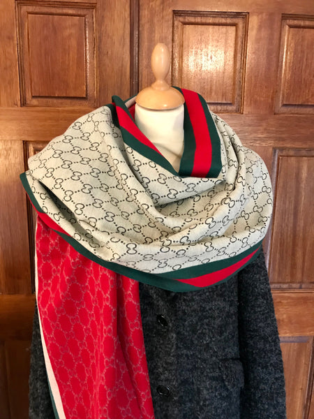 Reversible Red and Silver Cashmere Feel Scarf