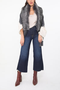 Riona Faux Fur Stole Dark Grey
