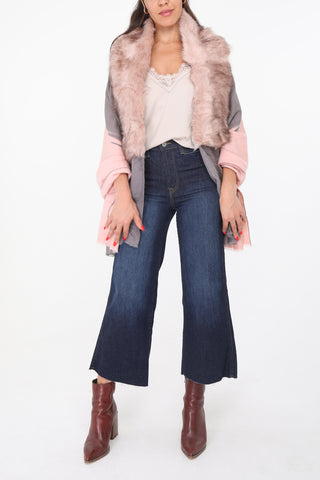 Riona Faux Fur Stole Pink and Grey